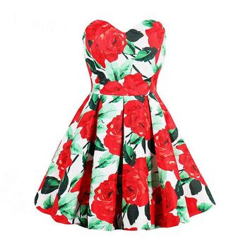 Pleated cocktail dress red rose print a line knee length dress ladies party short cocktail dress