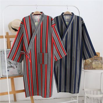 2017 Striped Japanese Couples Bathrobes Cotton Kimono Robe Long Sleeve Dressing Gown for Men and Women Bath Sweat Sauna Clothes