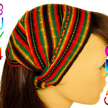 Rasta Color Peruvian fabric, Peruvian textile, Multicolor, Woven Turban Headband, Headband Head Wrap, boho headband, wide headband