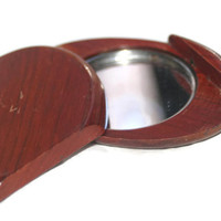 Vintage Wood Slide Open Purse Mirror