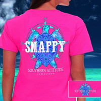 Southern Attitude Preppy Snappy Turtle Nautical Pink T-Shirt