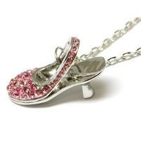 "The Olivia Collection Pink Rhinestone Set High Heel Shoe Pendant on 16"" Chain"