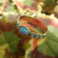 Blue Opal - Gold Rings - 14k Yellow Gold plated Over Brass - Gemstone Band Oval Stone-Birthstone Rings - Bezel Rings-Bridesmaid Gift