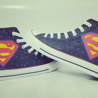 superman handpainted shoes converse Custom one of a kind canvas