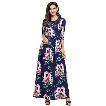 Chicloth Classic Floral Print Navy 3/4 Sleeve Maxi Dress.