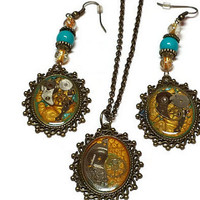 Steampunk Earrings and Steampunk Necklace Set