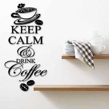 Wall Stickers Vinyl Decal Kitchen Quote Keep Calm and Drink Coffee Unique Gift ig1402