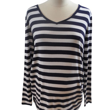 Navy Blue & White Stripe Long Sleeve T- Shirt by GAP