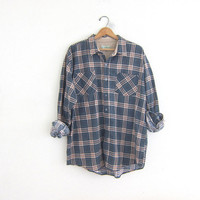 Vintage boyfriend flannel / blue gray plaid shirt / grunge shirt / tomboy shirt