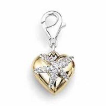 Sterling Silver Rhodium Plated Puffed Heart Starfish Diamond Charm