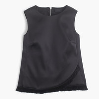 J.Crew Womens Collection Satin Sleeveless Shell With Fringe