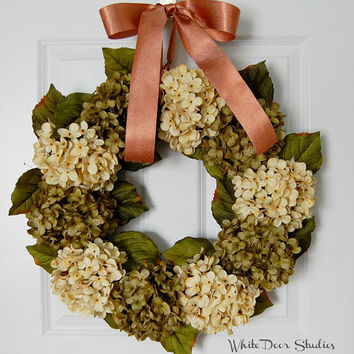 Green and Ivory Hydrangea Wreath, Front Door Wreath, Summer Wreath, Fall Wreath, Year Round Wreath