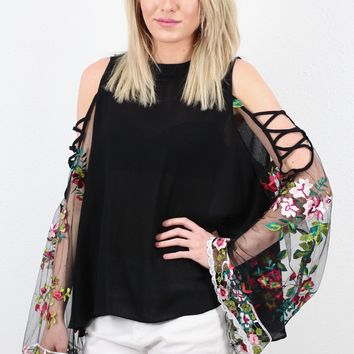 Floral Embroidered Mesh Angel Sleeve Blouse {Black}