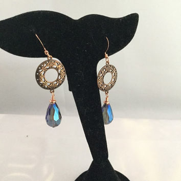 Blue Teardrop Earrings, Crystal Victorian Earrings, Copper Filigree Earrings, Copper Victorian Jewelry, Wedding Earrings, gift for her