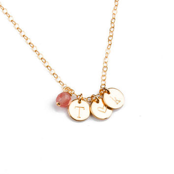 Gold Initial Necklace • Gold Personalized Disc Necklace • Kid's Name Necklace • Personalized Best Friend • Mother's Necklace | 0270-1NM