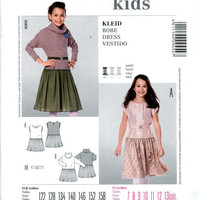 BURDA KIDS 9454 DRESS Pattern Girls Tulle Skirt Dress Cowl Neck Short Long Sleeves Size 7 8 9 10 11 12 13 UNCuT Child Girls Sewing Patterns