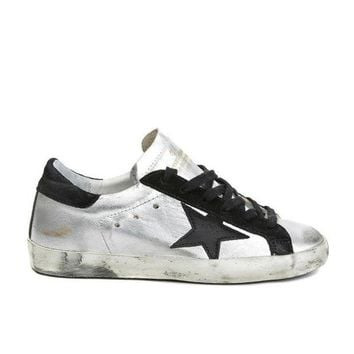 PEAP2Q golden goose deluxe brand super star sneakers silver black couples shoes