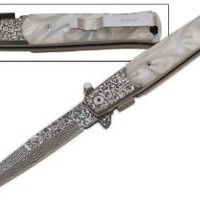 Pearl Milano Handle & Damascus Blade ASSISTED OPENING POCKET KNIFE Godfather