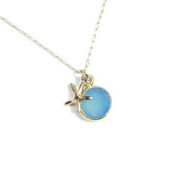 Aqua Sky Blue Chalcedony Gemstone Drop Necklace with 14k Gold Filled Starfish Charm. Beach Nautical themed Jewelry. Dainty. Gift for Her.