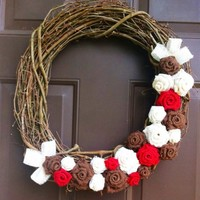 Red Burlap Wreath on Grapevine for front door with burlap flowers