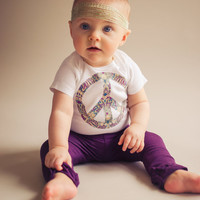 Peace sign Onesuit - Hippie baby shirt - Purple, gray, blue and gold peace sign bodysuit - Boho baby shirt - 0-3 Months to 18 Months
