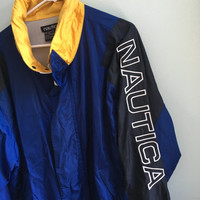 vintage 90s blue & yellow nautica coat / large