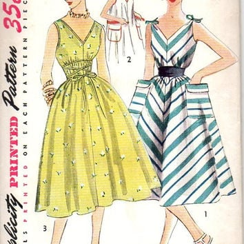 Simplicity 4309 Sewing Pattern Retro 50s Garden Tea Dress Loose Fit Tent Trapeze Shoulder Tie Sunderss Full Skirt Bust 32