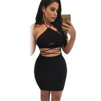Sexy Slim Fit Halter Neck Package Hip Sleeveless Erotic One Piece Dress _ 11999