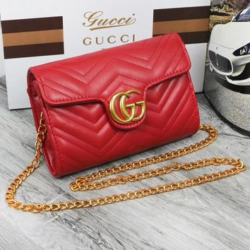 GUCCI Fashion New Texture Chain Crossbody Shoulder Bag Women Red
