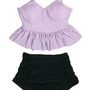 Lavender Violet Long Peplum Top and Black Ruched High waist waisted Shorts Bottom Swimsuit Swimwear Bikini Bathing suit suits Bathsuit S M