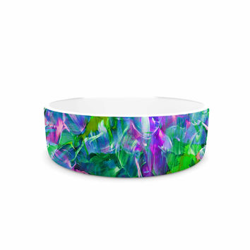 "Ebi Emporium ""Bloom On! Exotic"" Green Purple Pet Bowl"
