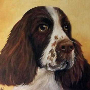 Original Hand Painted Oil Brown English Spaniel Dog Artist Signed Painting