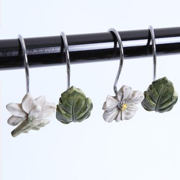 12 Pcs Flower Fallen Leaves Shower Curtain Resin Hooks