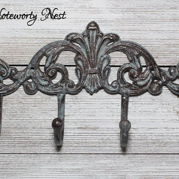 ANY COLOR Hook Decorative Hook // Jewelry Hook // Coat hook // towel hook // bedroom decor // bathroom decor // kitchen decor // Patina Hook