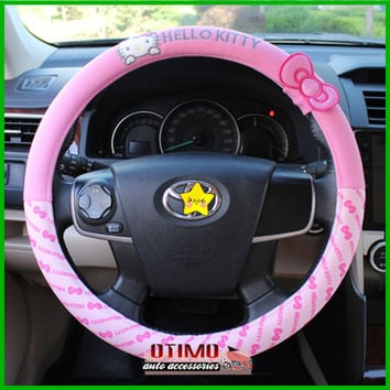Car Styling Hello Kitty Car Steering Wheel Cover Cartoon Cute Pink Hello Kitty Profile Universal Interior Accessories Set Women