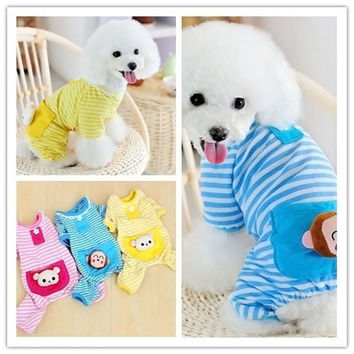 Small Pet Dog Stripes Pajamas Coat Cat Puppy Cozy Clothes Apparel Clothing = 1930011396
