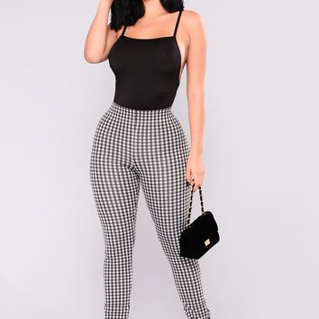 Sage Gingham Pants - Black/White