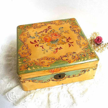 Antique 1920's floral hand painted handkerchief hankie box, decoupage wood box made in Japan #67976 hinged jewelry box roses keepsake box