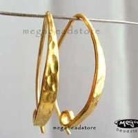 2 pcs Vermeil 24K Gold Ear Wire Hammered Texture by MegaBeadStore
