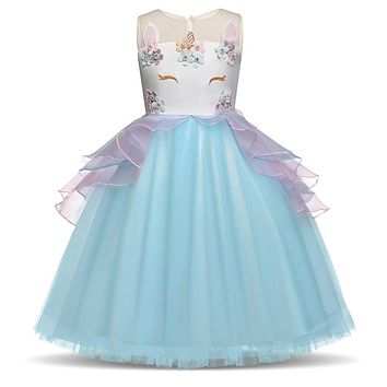 Fancy Unicorn Party Tutu Dress Baby Girls Birthday Party Frocks Children Princess Summer 2018 Costume For Kid Formal Clothing