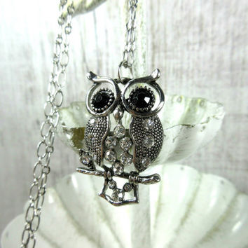 Owl Necklace, Rhinestone Owl Necklace, Owl on a Branch Pendant, Bird Necklace, Owl Lover Gift