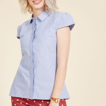 An Intellect Abroad Button-Up Top | Mod Retro Vintage Short Sleeve Shirts | ModCloth.com