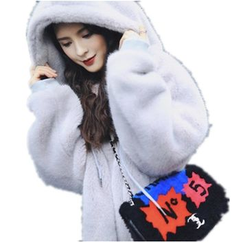 Women's Winter Jacket Mink Fur Coats Hoodies Fashion Hoody Luxury Long Coat Women Elegant Winter Coats Female Hooded Fur Coat