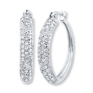 Crystal Hoop Earrings Diamond Accents Sterling Silver