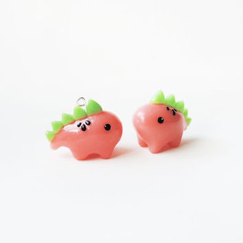 Watermelon Stegosaurus Dinosaur Necklace - Polymer Clay Charm