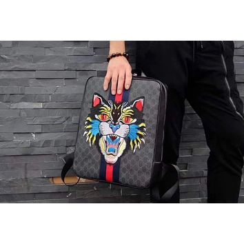 GUCCI HOT STYLE LEATHER EMBROIDERY CAT BACKPACK BAG