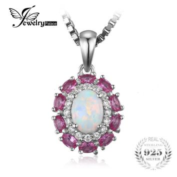 JewelryPalace 0.9ct Created Opal Inlay Pink Sapphire Pendant For Women 925 Sterling Silver Wedding Jewelry Not Include the Chain