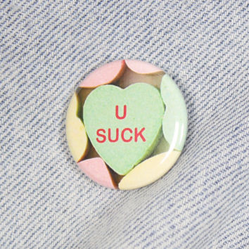 U Suck 1.25 Inch Pin Back Button Badge