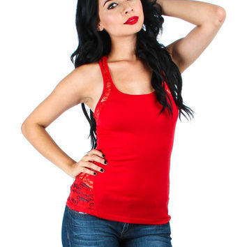 RED TANK TOP WITH LACE BACK