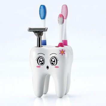 ICIK272 Teeth Style Toothbrush Holder 4 Hole Cartoon Toothbrush Stand Tooth Brush Shelf Bracket Container Bathroom Accessories Set